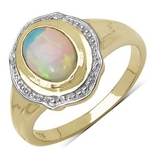 925 Sterling Silver Oval Cut Ethiopian Opal Halo Ring