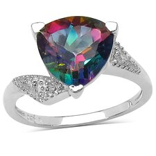 925 Sterling Silver Trillion Cut Mystic Topaz Ring