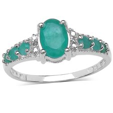925 Sterling Silver Oval Cut Emerald Ring