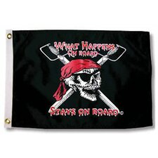 Pirate Heads 'What Happens on Board Stays on Board' Traditional Flag