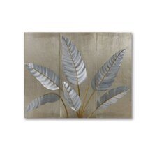 Gilmore 3 Piece Metallic Leaves Graphic Art Plaque Set