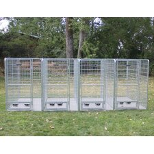 4 Dog Galvanized Steel Yard Kennel