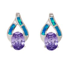 Opal Oval Cut Amethyst Drop Earrings