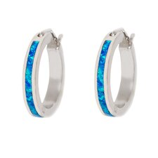 Opal Cushion Cut Hoop Earring