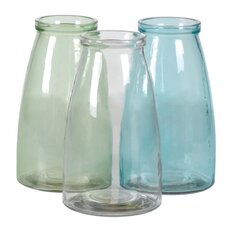 3 Piece Milk Bottle Inspired Vase Set