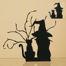 Wood Cat and Witch Silhouette