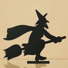 Wood Witch Riding Broom Silhouette