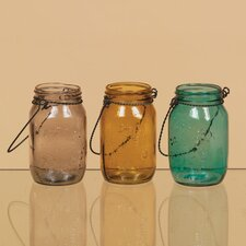 Mason Colored Jar with Metal Handle