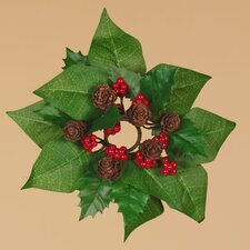 Holly Poinsettia Leaves Candle Ring