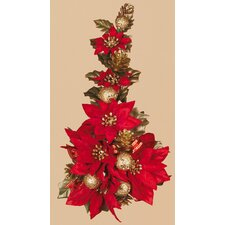 Poinsettia Ball Ribbon Candle Climber