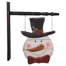 Hanging Wood Snowman Sign