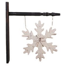 Hanging Wood Snowflake Sign