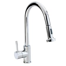 Single Lever Sink Tap with Swivel Swan Neck and Pull Out Spout