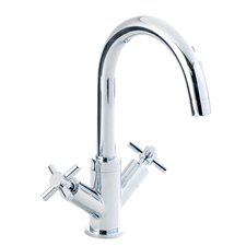 Twin Cross Head Control Sink Mixer with Swivel Swan Neck Spout