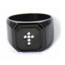Stainless Steel Cross Cubic Zirconium Band