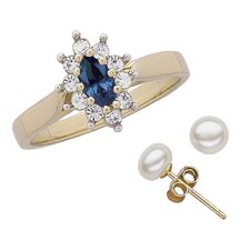 14K Gold Plated Marquise Cut Sapphire Ring and Earring Set