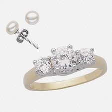 14K Gold Plated Round Cut Cubic Zirconia Trio Ring and Earring Set