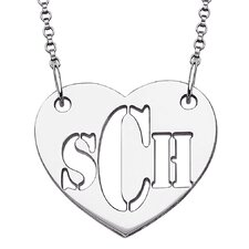 Sterling Silver Cut Out Monogram Heart Pendant