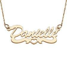 10K Gold Open Heart Script Necklace