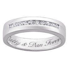 Her Sterling Silver Cubic Zirconia Engraved Wedding Band