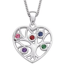 Sterling Silver Family Heart Birthstone Necklace - 5 Stones
