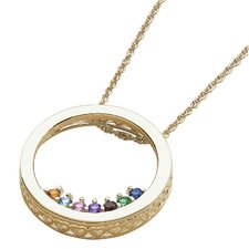 Circle Slider Birthstone Necklace