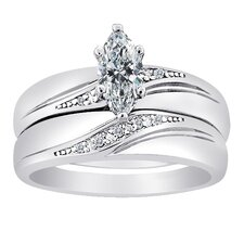 Plated Sterling Silver Marquise Cut Cubic Zirconia Bridal Set