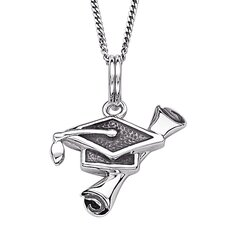 Sterling Silver Diploma and Mortar Board Graduation Pendant