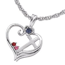 Sterling Silver Birthstone Heart Cross Necklace - 2 stone