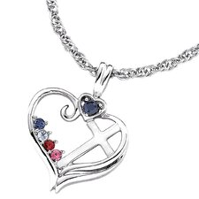 Sterling Silver Birthstone Heart Cross Necklace - 4 stone
