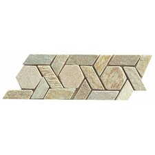 "12"" x 4.75"" Stone Mosaic Liner Tile in Amber Gold"