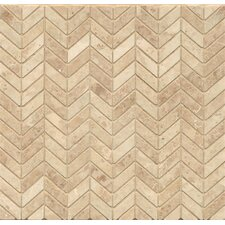 "Chevron 12"" x 12"" Marble Polished Mosaic Tile in Cappuccino"