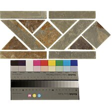 "12"" x 6"" Stone Mosaic Liner Tile in Multicolor"