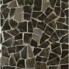 Hemisphere Random Sized Crazy Stone Glazed Mosaic Tile in Black Lava