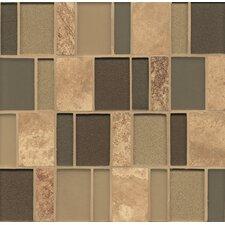 Random Sized Mosaic Brick Pattern Stone/Glass Blends in Chelsea Manhattan Glass