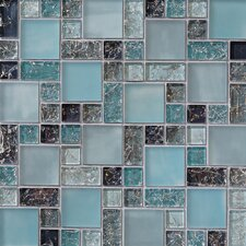 "12.63"" x 12.63"" Mosaic Gloss Matte Tile in Blue"