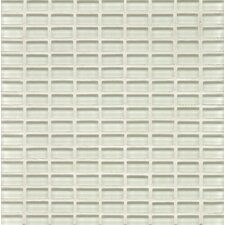 "<strong>Bedrosians</strong> 11"" x 11"" Mosaic Mini Brick Pattern White Linen Gloss Hamptons Glass"
