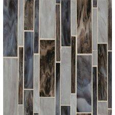 Random Sized Mosaic Linear Pattern Blend Tile in Blue Velvet