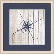 Nautical Compass on Planks Framed Graphic Art