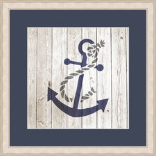 Anchor on Planks Framed Graphic Art