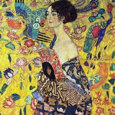 'Lady with Fan' by Gustav Klimt Painting Print on Canvas