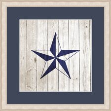 Nautical Star on Planks Framed Graphic Art