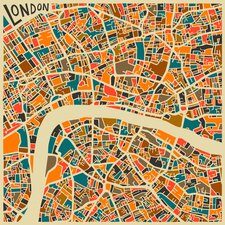 'Retro City Map London' by Jazzberry Blue Graphic Art on Canvas