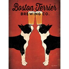 'Boston Terrier Brewing' by Ryan Fowler Graphic Art on Canvas