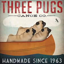 'Three Pugs Canoe Co' by Ryan Fowler Graphic Art on Canvas