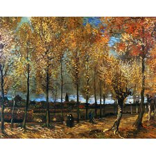 'Lane with Poplars' by Vincent Van Gogh Painting Print on Canvas