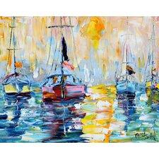'Sunrise Boats' by Karen Tarlton Painting Print on Canvas