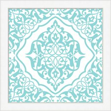 Spa Blue Arabic Tile Pattern Framed Graphic Art