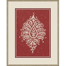Raspberry Paisley Framed Graphic Art in Red