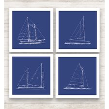 <strong>Epic Art</strong> Sailboat Blueprint Wall Art Collection